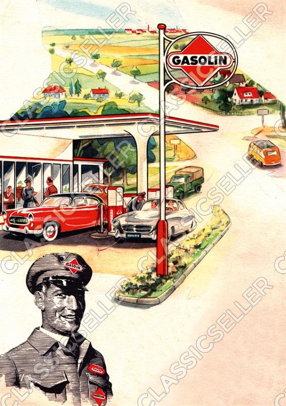 Gasolin Tankstelle Poster Plakat Bild Kunstdruck