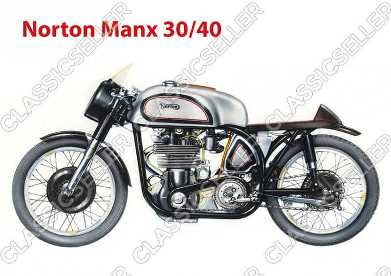 Norton Manx 30/40 Motorcycle Poster Picture