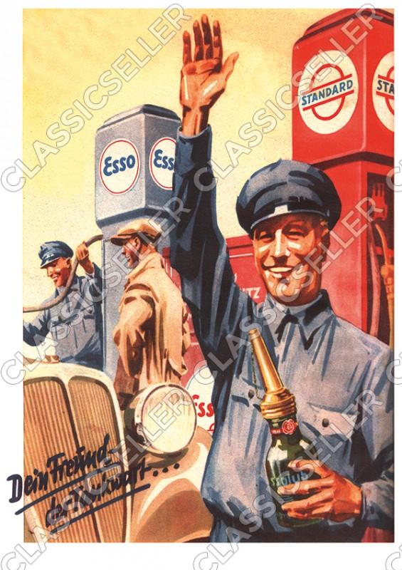 Standard Esso Essolub Tankstelle Poster Plakat Bild
