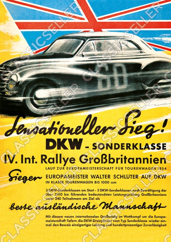 DKW Special Class Int. Rally Great Britain Walter Schlüter Poster Picture race victory 1954