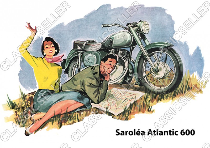 Saroléa Atlantic 600 ccm motorcycle poster Picture art print