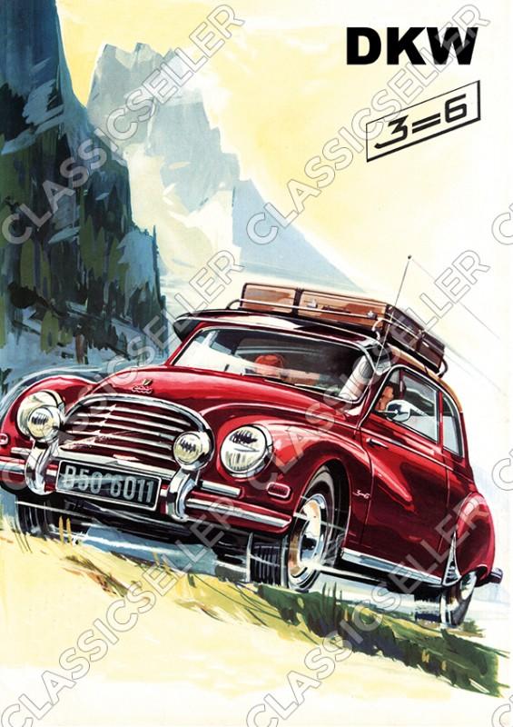 DKW 3=6 PKW F91 F93 Sonderklasse Auto Wagen Poster Plakat Bild Kunstdruck