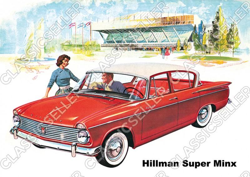 Hillman Super Minx rot Auto PKW Wagen Poster Plakat Bild Kunstdruck