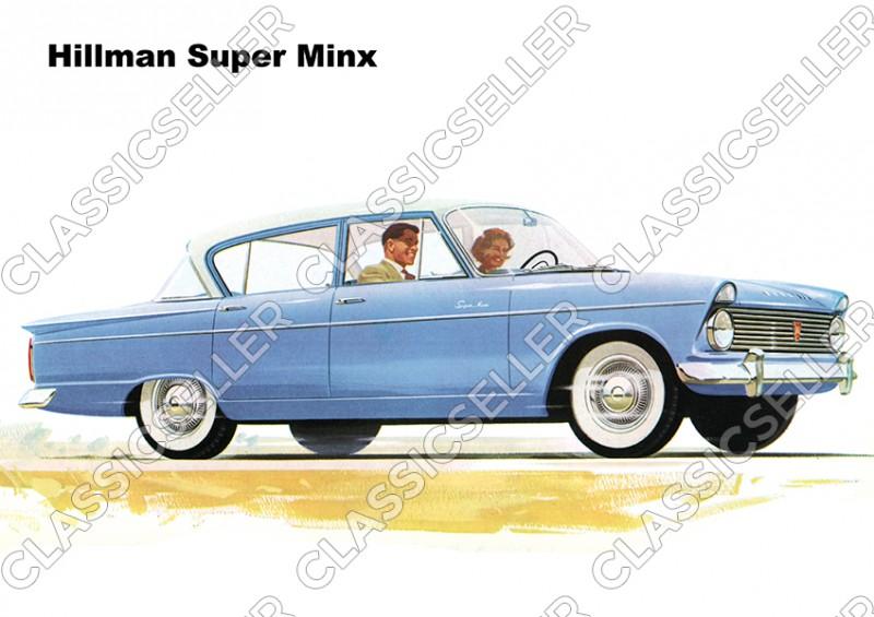 Hillman Super Minx blau Auto PKW Wagen Poster Plakat Bild Kunstdruck