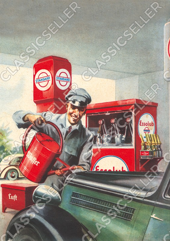 Standard Esso Essolub Tankstelle Werkstatt Poster Plakat Bild Kunstdruck