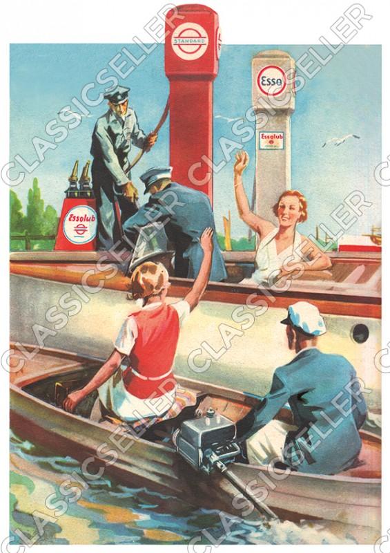 Standard Esso Essolub Tankstelle Motorboot Poster Plakat Bild