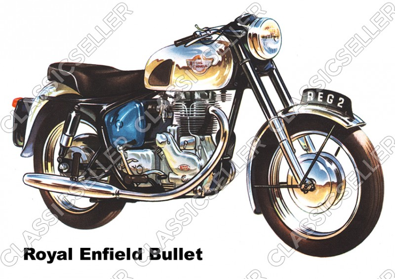 Royal Enfield Bullet 350 500 Motorcycle Poster Picture Art Print
