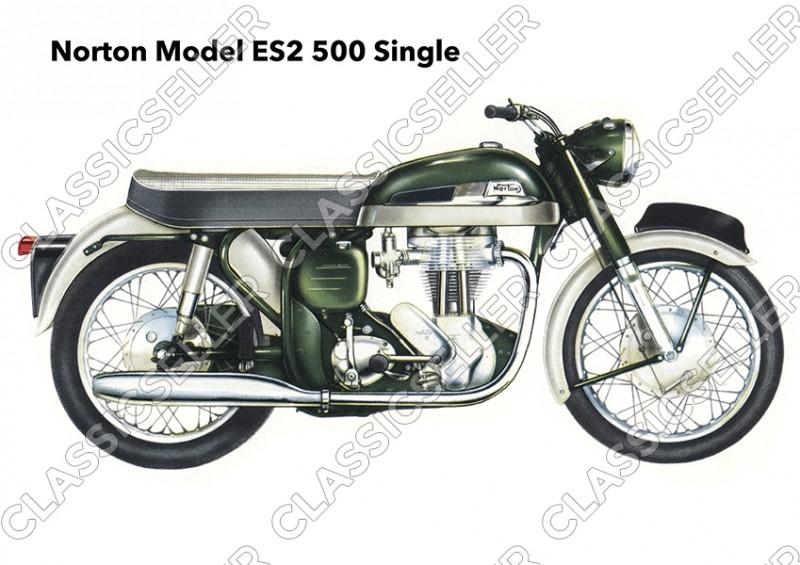 Norton Model ES2 500 ccm Single Motorrad Poster Plakat Bild