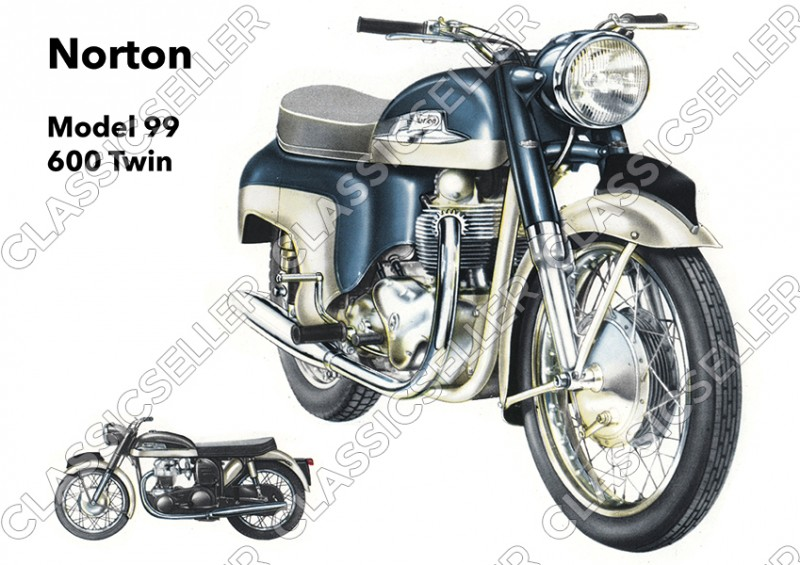 Norton Model 99 600 cc Twin Motorcycle Poster Picture art print