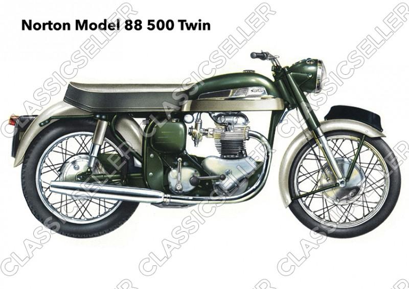 Norton Model 88 500 ccm Twin Motorrad Poster Plakat Bild Kunstdruck