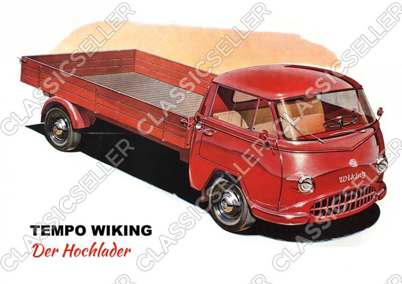 Tempo Wiking Hochlader Lastwagen LKW Poster Plakat Bild Kunstdruck