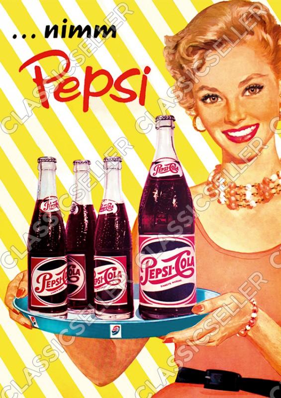 "Pepsi-Cola ""nimm Pepsi"" Pin-Up Rockabilly 50s 50er Jahre Werbung Reklame Poster Plakat Bild"