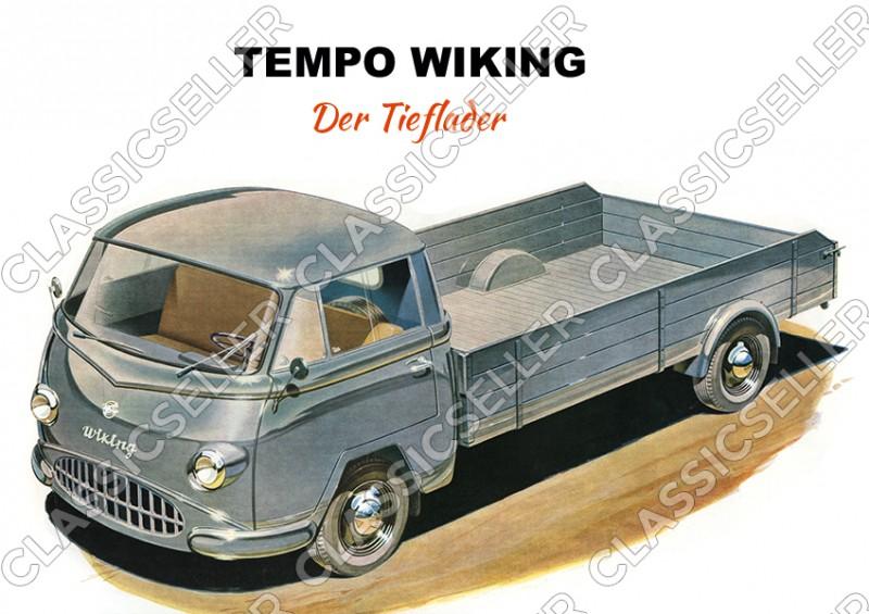 """Tempo Wiking """"Der Tieflader"""" Kleintransporter Poster Plakat Bild"""