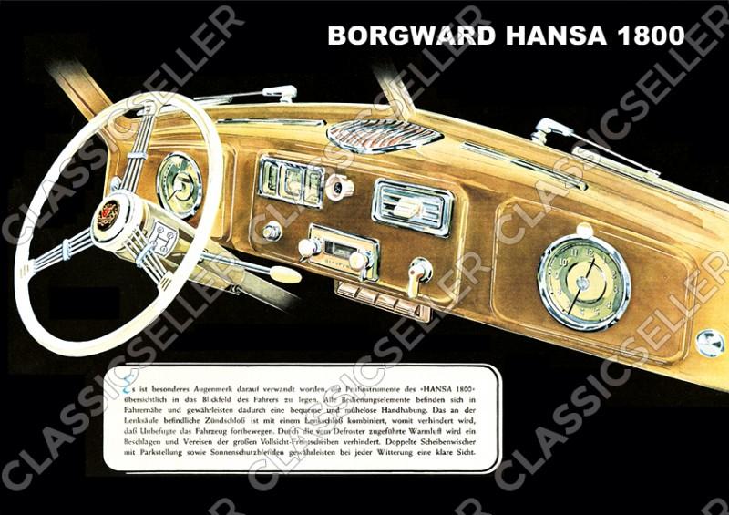 Borgward Hansa 1800 Cockpit Interior Auto PKW Poster Plakat Bild