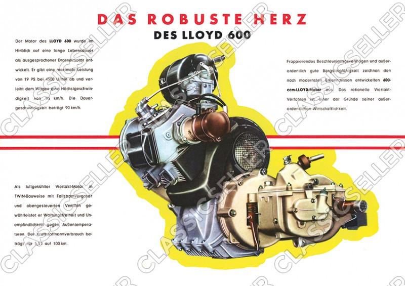 Lloyd 600 Motor Schnittzeichnung Explosionszeichnung Schnittbild Poster Plakat Bild
