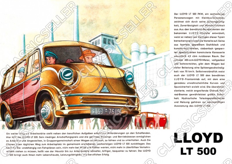 Lloyd LT 500 LT500 Kleinbus Kleintransporter Poster Plakat Bild