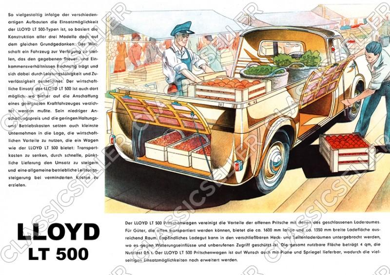 Lloyd LT 500 LT500 Kleinbus Kleintransporter Pritschenwagen Poster Plakat Bild