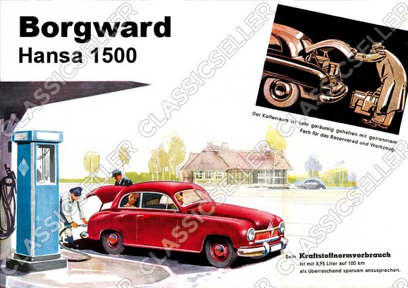 Borgward Hansa 1500 Tankstelle Auto PKW Poster Plakat Bild