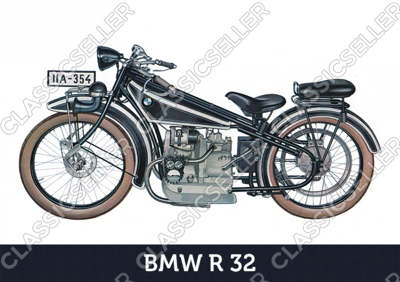 BMW R 32 R32 Motorrad Poster Plakat Bild