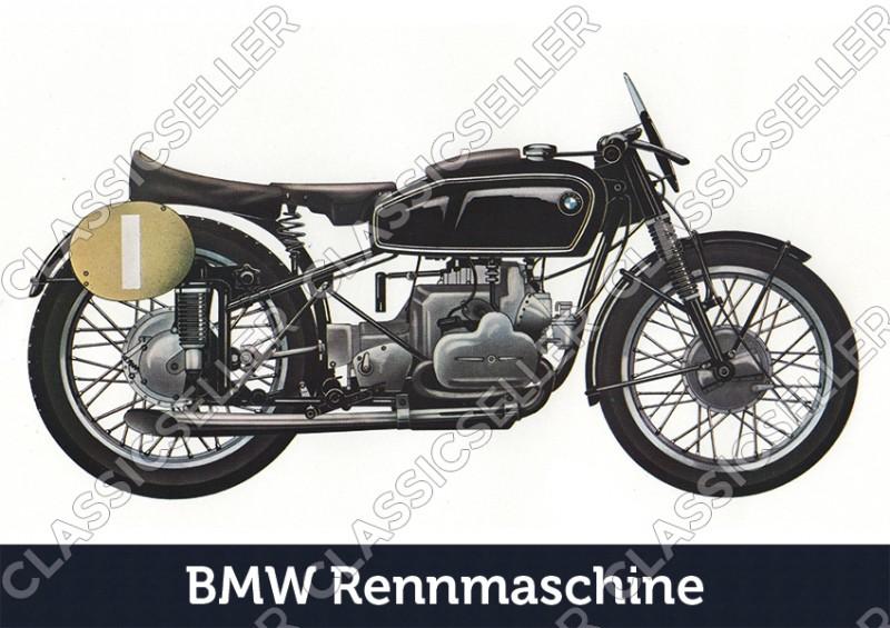 BMW Rennmaschine Motorrad Poster Plakat Bild