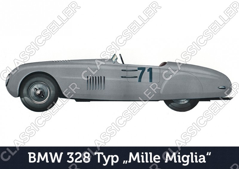 """BMW 328 type """"Mille Miglia"""" car passenger car Poster Picture"""