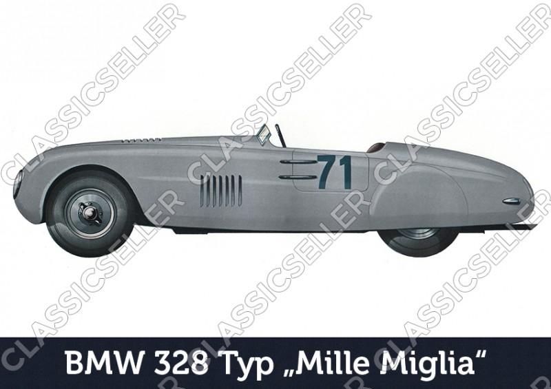 """BMW 328 Typ """"Mille Miglia"""" Auto PKW Wagen Poster Plakat Bild"""