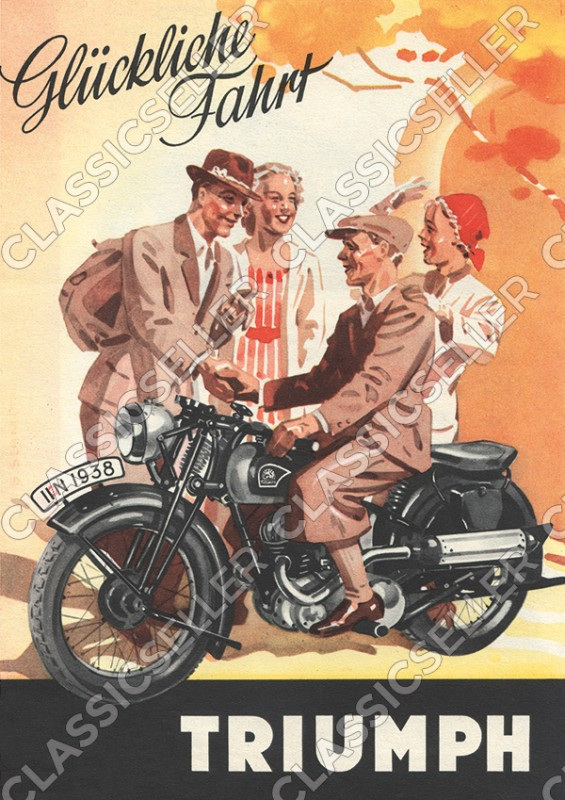 Triumph motorcycles 1938 S 350 500 motorcycle Poster Picture