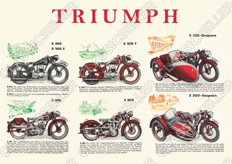 Triumph Motorräder Motorrad Typentafel Modellübersicht Vorkrieg Poster Plakat Bild