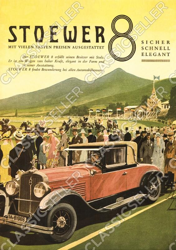 Stoewer 8 Acht PKW Auto Wagen Poster Plakat Bild