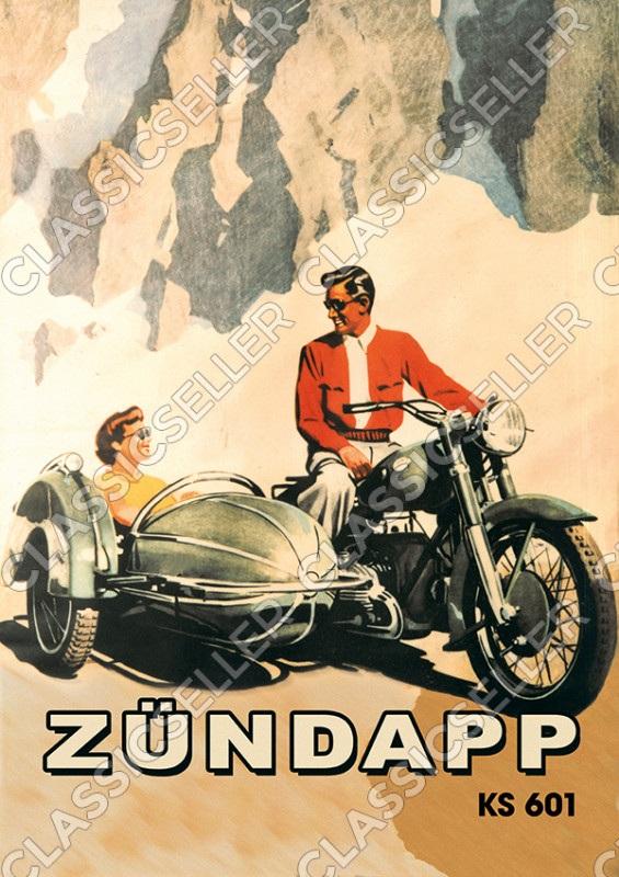 Zündapp KS 601 Motorrad mit Seitenwagen Poster Plakat Bild KS601
