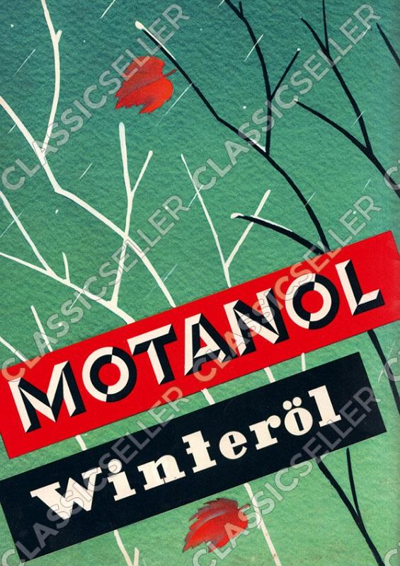 Motanol Winteröl Motoröl Reklame Werbung Poster Plakat Bild
