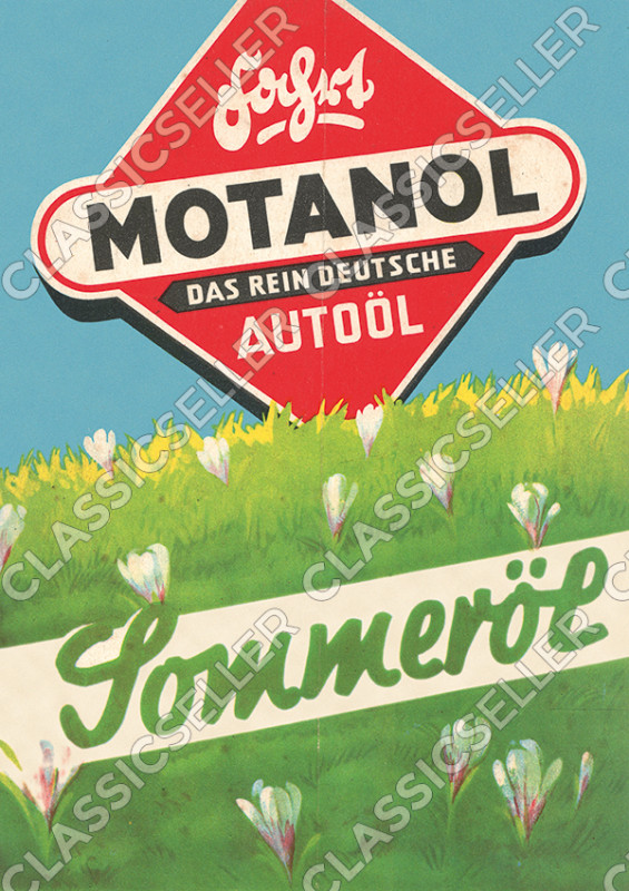 Motanol Sommeröl Motoröl Autoöl Reklame Werbung Poster Plakat Bild