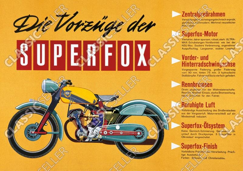 NSU Superfox Motorrad Poster Plakat Bild