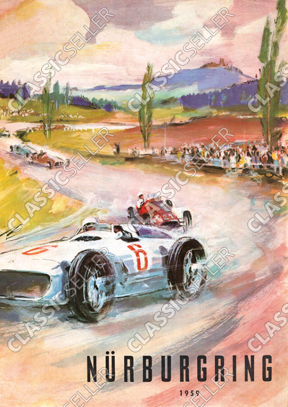 Nürburgring 1959 race racing motorsports car Poster Picture