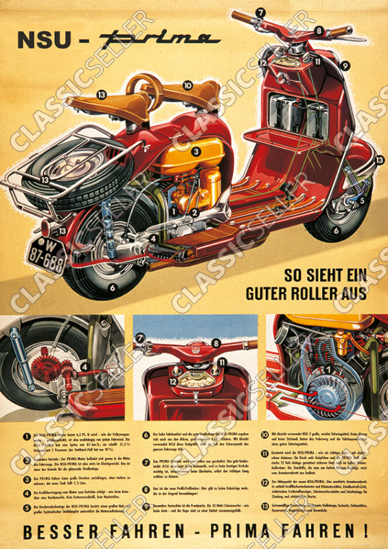 NSU Prima Motorroller Poster Plakat Bild