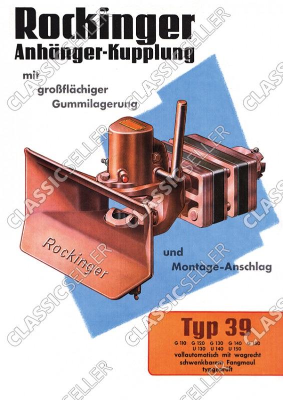 Rockinger Typ 39 Anhänger-Kupplung Anhängerkupplung Reklame Werbung Poster Plakat Bild