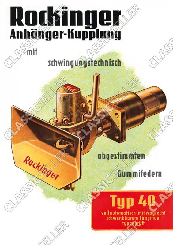 Rockinger Typ 40 Anhänger-Kupplung Anhängerkupplung Reklame Werbung Poster Plakat Bild