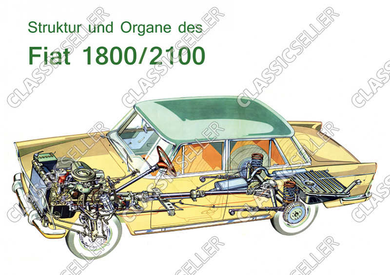 "Fiat 1800 2100 ""Structure and organs"" sectional drawing Poster image"