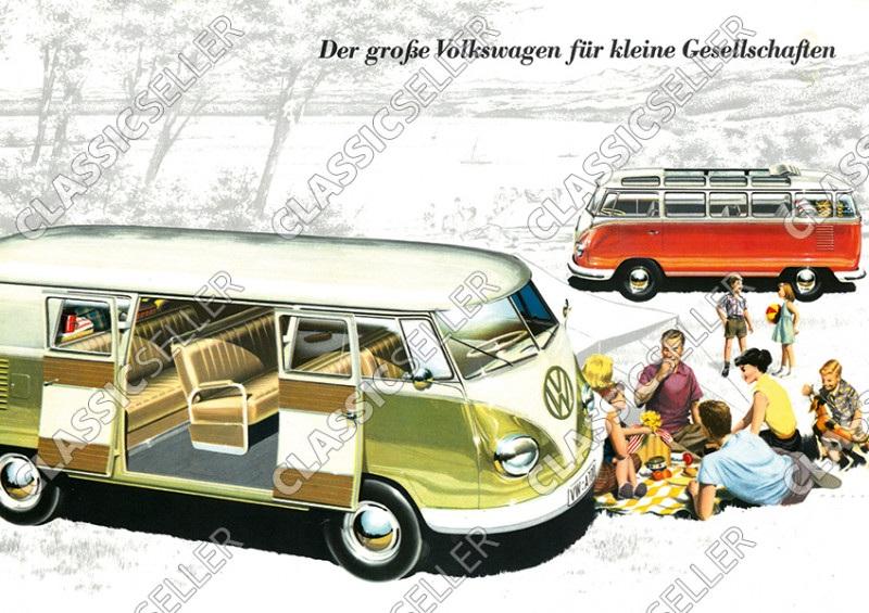 VW Volkswagen Bulli Samba Bus T1 Poster Plakat Bild