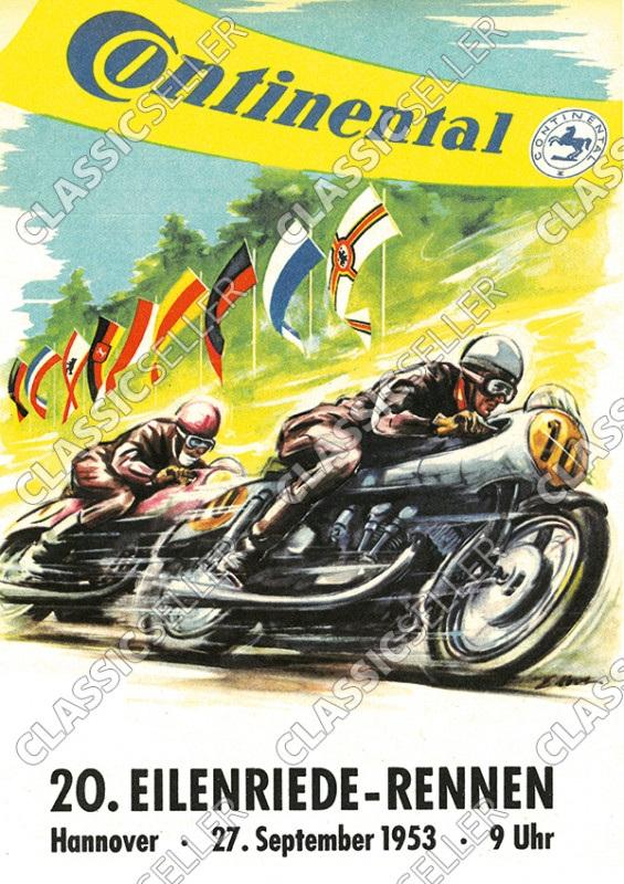 20. Eilenriede-Rennen Hannover 1953 Rennsport Motorsport Motorrad Poster Plakat Bild