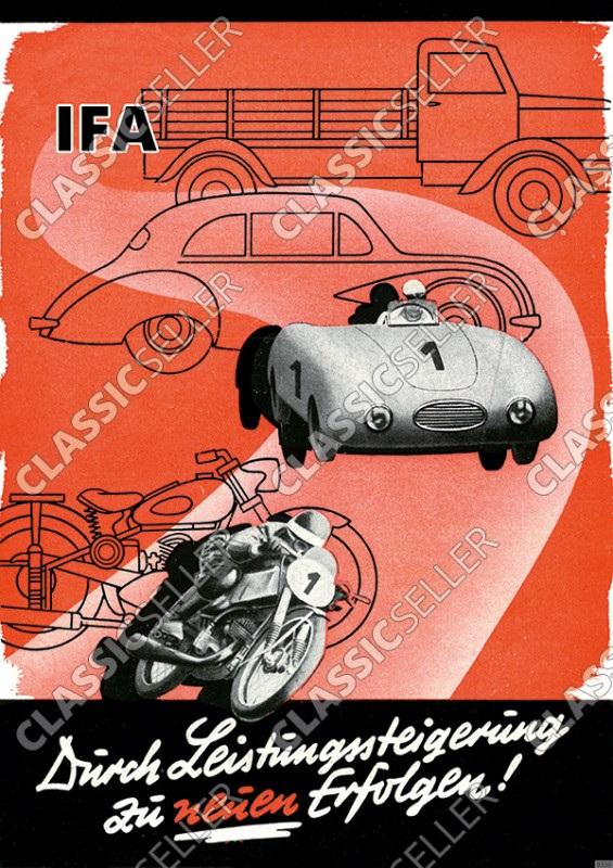 IFA Rennen Auto Motorrad Motorsport Rennsport Poster Plakat Bild