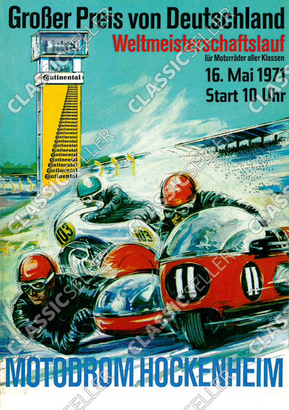 "Motodrom Hockenheim 1971 ""Grand Prix of Germany"" Racing Motorcycle Race Poster Picture"