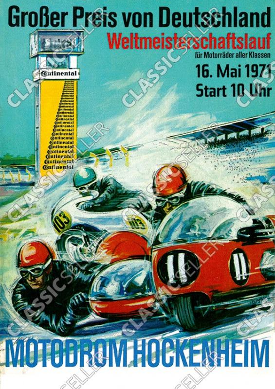 """Motodrom Hockenheim 1971 """"Großer Preis von Deutschland"""" Rennsport Motorrad Rennen Poster Plakat Bild"""