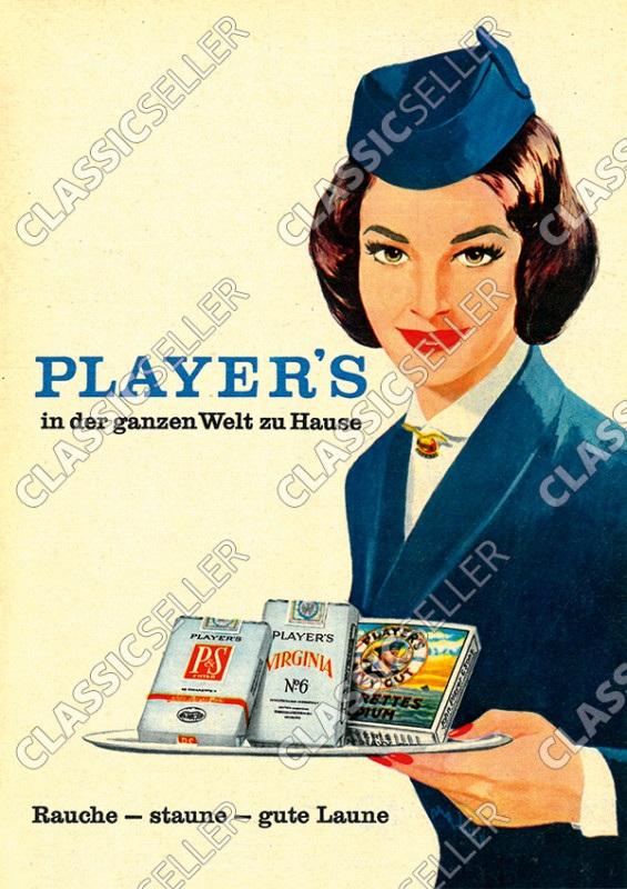 """Players Zigaretten Tabak """"Rauche-staune - gute Laune"""" Poster Plakat Bild"""