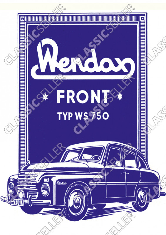 Wendax Front Type WS 750 WS750 Car Car Poster Picture