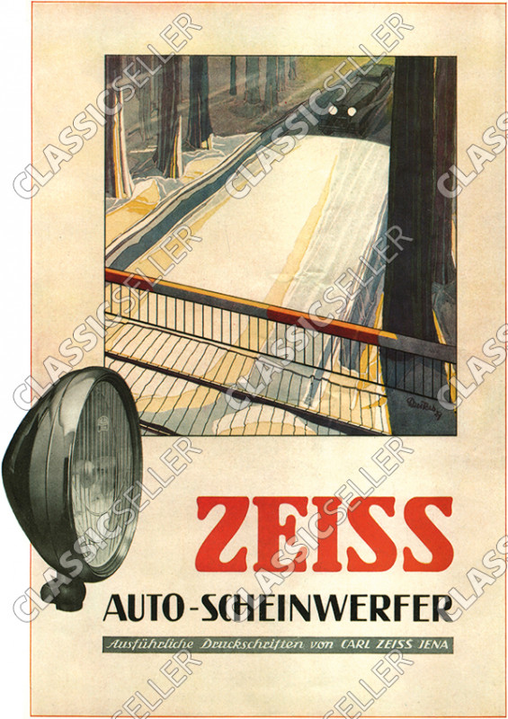 Zeiss Auto-Scheinwerfer Licht Lampe Reklame Werbung Poster Plakat Bild