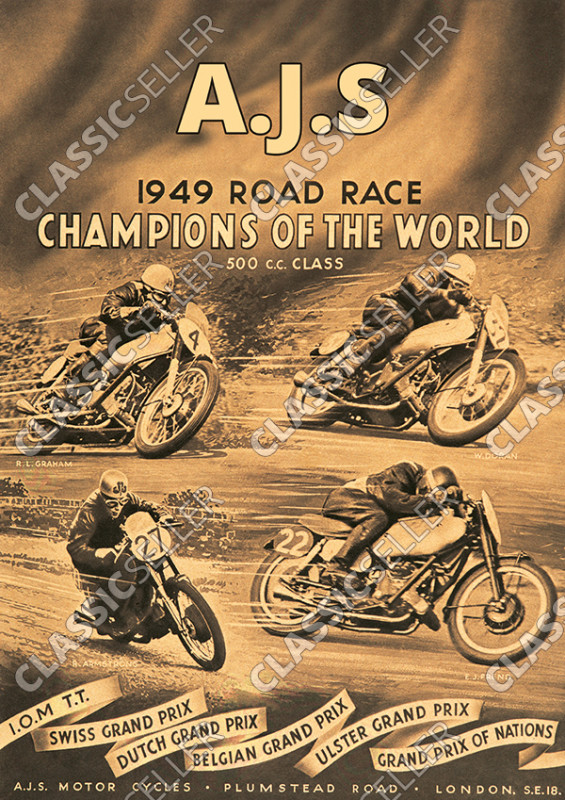 AJS 1949 Road Race 500 cc race Grand Prix racing motorsports motorcycle Poster Picture