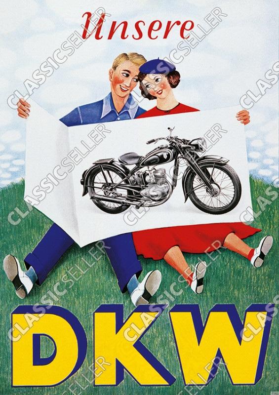 "DKW ""Unsere DKW"" RT 125 Motorrad Poster Plakat Bild"