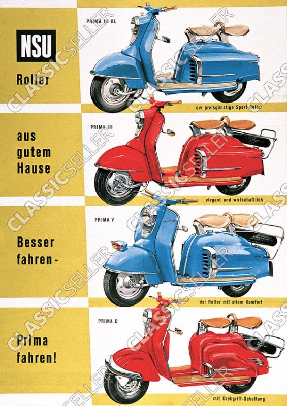 NSU Prima III KL V D Motorroller Modell-Übersicht Poster Plakat Bild