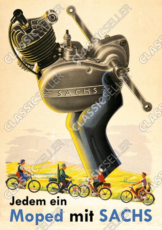 """Sachs """"Jedem ein Moped mit Sachs"""" Motor Poster Plakat Bild"""